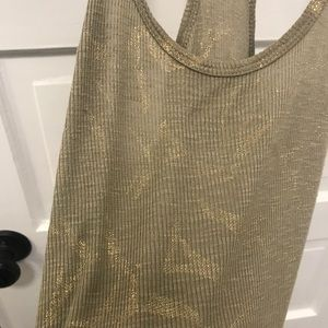 Tops - Green Racerback with Gold Print
